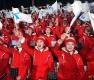 한반도기 흔드는 북한 미녀 응원단