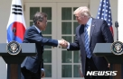 """文대통령, 트럼프와 """"韓 주변 美 전략자산 순환배치 확대"""" 합의"""