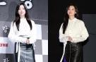 '인랑' 한효주, 블라우스+가죽 치마 패션…여성미 '물씬'