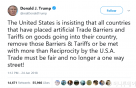"""트럼프 """"무역 장벽 철폐 안하면 상호주의 이상에 직면할 것"""" 보복 경고"""