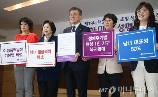[사진]여성정책공약 실천서 서명한 문재인 후보
