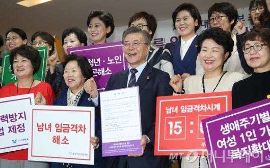 [사진]여성단체협의회 찾은 문재인 후보