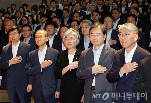[사진]국기에 대한 경례하는 강경화 장관