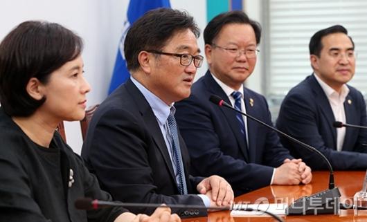 [사진]발언하는 우원식 원내대표