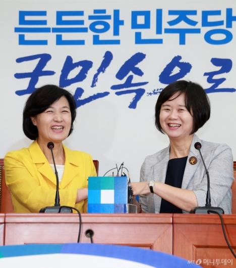 [사진]손잡고 활짝 웃는 추미애-이정미 대표