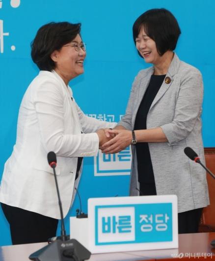 [사진]손잡은 이혜훈-이정미 대표