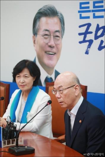 [사진]민주당 찾은 이효성 방통위원장