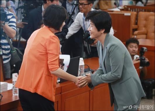 [사진]악수하는 김영주-이정미