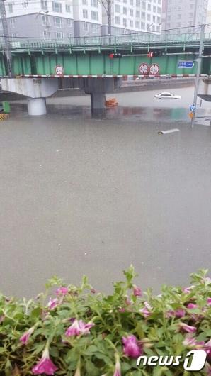 [사진]'쏟아진 폭우에 침수된 도로'