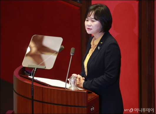 [사진]비교섭단체 대표발언하는 이정미 정의당 대표