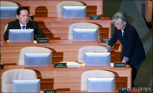 [사진]북핵·사드 집중 공세 받은 강경화-송영무 장관