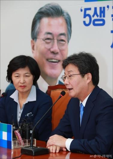 [사진]민주당 찾은 유승민 바른정당 신임 대표