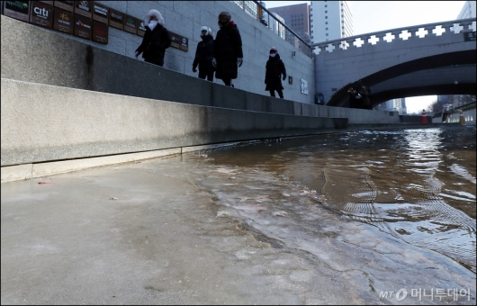 [사진]한파에 얼어가는 청계천'