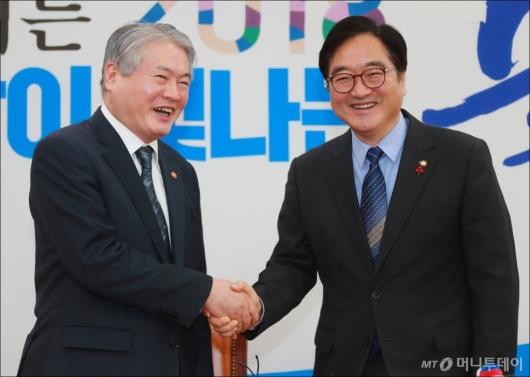 [사진]김용익 건보공단 이사장, 우원식 민주당 원내대표 예방