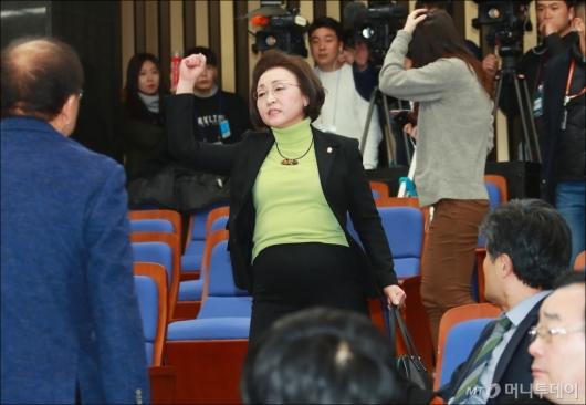 [사진]장정숙 '합당반대, 당무위 중단하라'