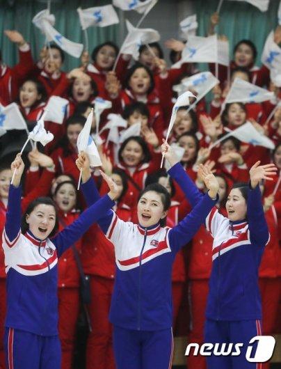 [사진]북한 응원단, '열정적인 공연'