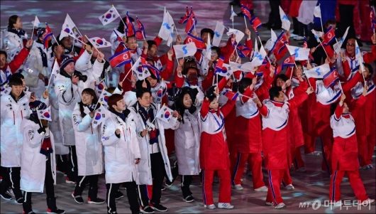 [사진]하나된 남북 선수단