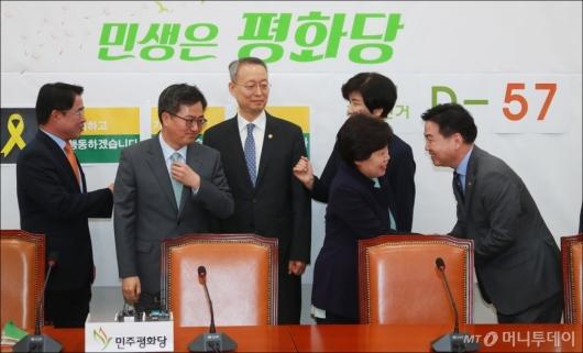 [사진]김동연-백운규-김영주-홍종학, 추경 설득 민주평화당 방문