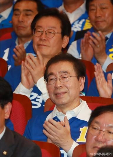 [사진]선대위 출정식 참석한 박원순-이재명 후보