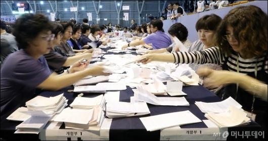 [사진]'빠른 투표용지 분류작업'