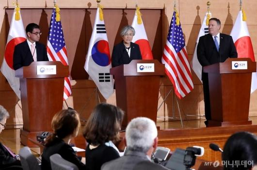 [사진]기자회견 갖는 한미일 외교장관