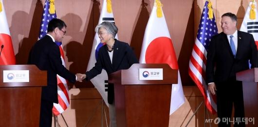 [사진]기자회견 마친 한미일 외교장관