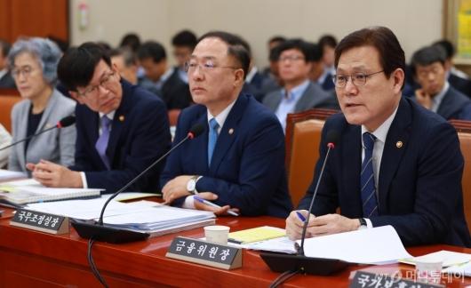 [사진]정무위 전체회의 출석한 최종구 금융위원장