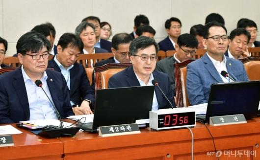 [사진]기재위 전체회의 출석한 김동연 부총리