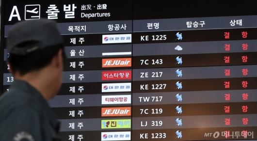 [사진]태풍 영향으로 국내선 항공편 '결항'