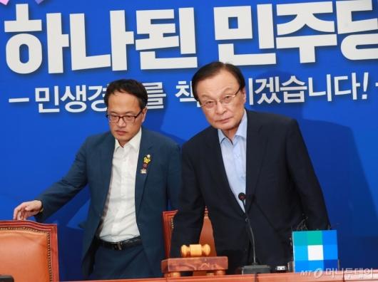 [사진]최고위 참석하는 이해찬 당대표-박주민 최고위원