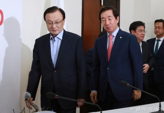 [사진]김성태 원내대표 찾은 이해찬 신임 대표
