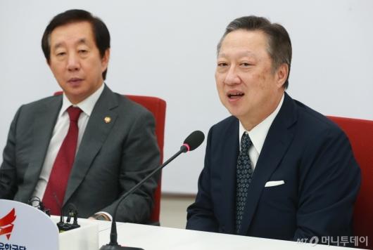 [사진]김성태 자유한국당 원내대표 만난 박용만 대한상의 회장