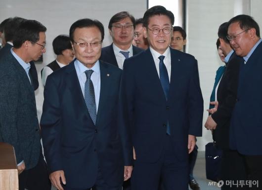 [사진]이해찬-이재명, 민주당-경기도 예산정책협의회 참석