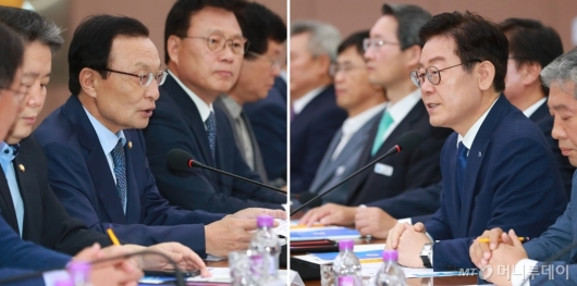 [사진]예산정책협의회서 만난 이해찬-이재명