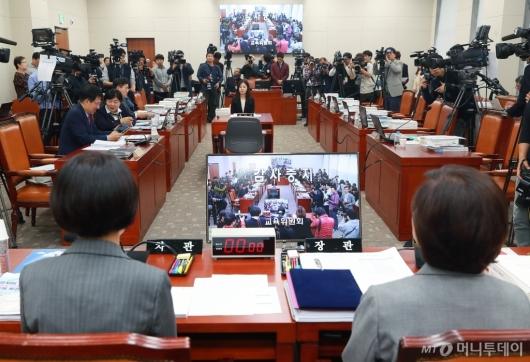 [사진]자유한국당 퇴장으로 중단된 교육부 국감