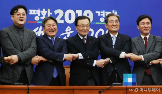 [사진]민주당 방문한 노영민 비서실장-강기정 정무수석