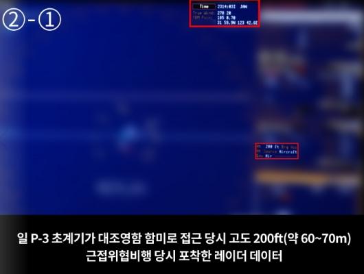日 초계기 근접 위협비행 사진 공개