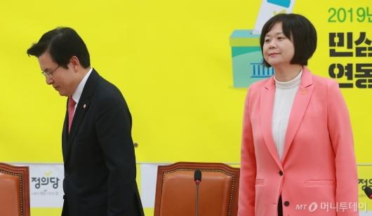 [사진]황교안, 이정미 대표 예방...김경수 판결 입장 질의에 '갑분싸'