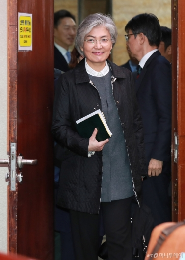 [사진]남북경협특위 출석하는 강경화 외교부 장관