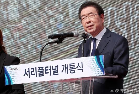 [사진]'서리풀 터널 개통' 축사 전하는 박원순