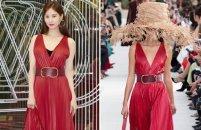 서현 vs 모델, V자형 가슴 파인 레드 드레스