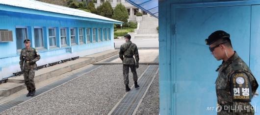 [사진]판문점 군사분계선 앞 경계근무 서는 헌병