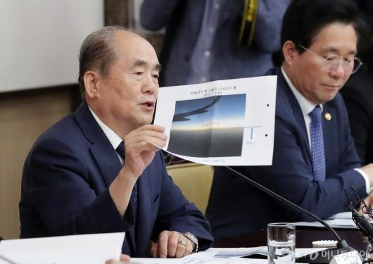 [사진]미세먼지 사진 들고 회의 참석한 김정욱 위원장