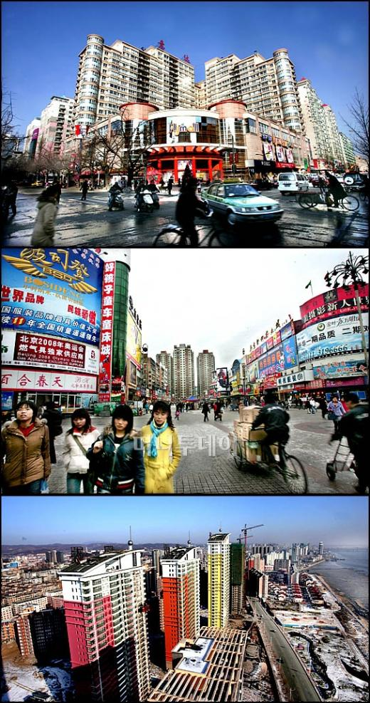 ↑'동북공정 핵심기지 단둥'<br /> 중국은 최변방인 단둥 지역 개발에 총력을 기울이고 있다. 단둥의 주거지역(사진상) 단둥의 상업지역과 번화가(사진중) 고층건물이 올라가고 있는 압록강 북한 접경지역(사진하)