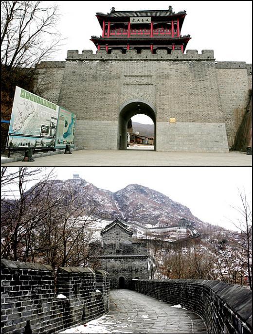 ↑고구려 박작성을 개조한 것으로 알려진 중국의 호산장성. 옛 성터들을 이은 것으로, 성인 4명이 지나갈 정도의 폭으로 구불구불 뻗어있다. <br />