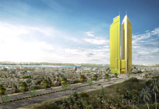 ▲한일건설이 캄보디아 수도 프놈펜에서 시공하는 '골드타워42' 조감도