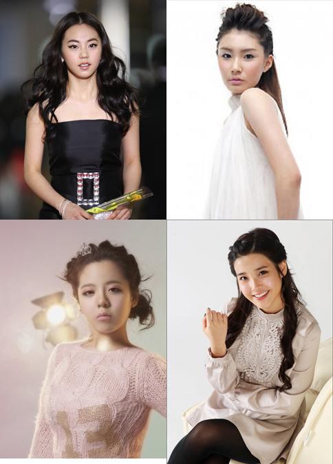 ↑ 원더걸스 소희, 모델 박서진, 가수 아이유, 오리(왼쪽 위부터 시계방향)