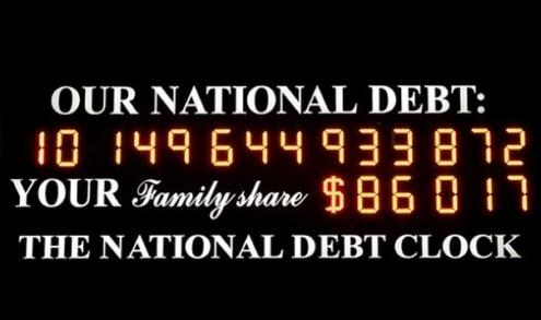 ↑ 뉴욕 맨해튼 타임스퀘어에 설치돼 있는 '국가부채 시계(National debt clock)'. 지난해 10월 1조달러가 넘어간 직후의 모습. 맨앞의 1자는 원래 $가 표시돼 있던 칸이다.