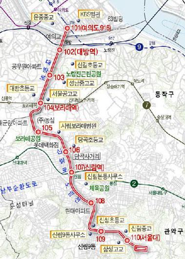↑ 신림선 경전철 노선도 ⓒ서울시