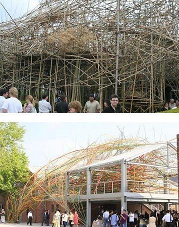 ↑ 위 사진은 4월27일부터 뉴욕 맨해튼 메트로폴리탄 뮤지엄 옥상에 전시되고 있는 스탄형제의 대나무 설치작 빅밤부. 아래 사진은 뉴욕에 활동하는 마종일 작가가 2009년 인천국제여성미술비엔날레에 출품한 대나무 전시물. 스탄형제 스튜디오에서 2001~2009년간 같이 일한 마작가는 그들이 자신의 작품을 표절했다고 주장하고 있다.
